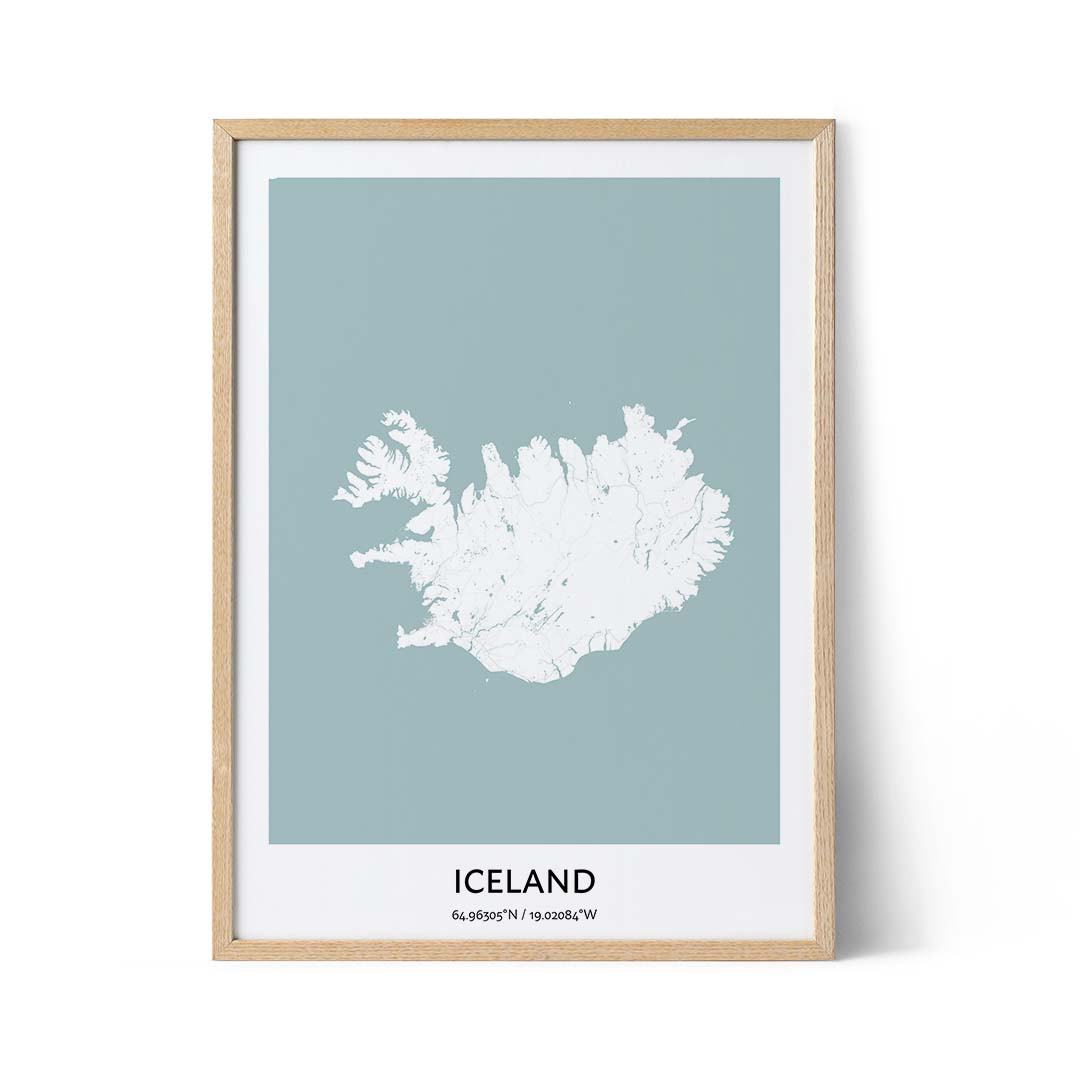 Iceland city map poster