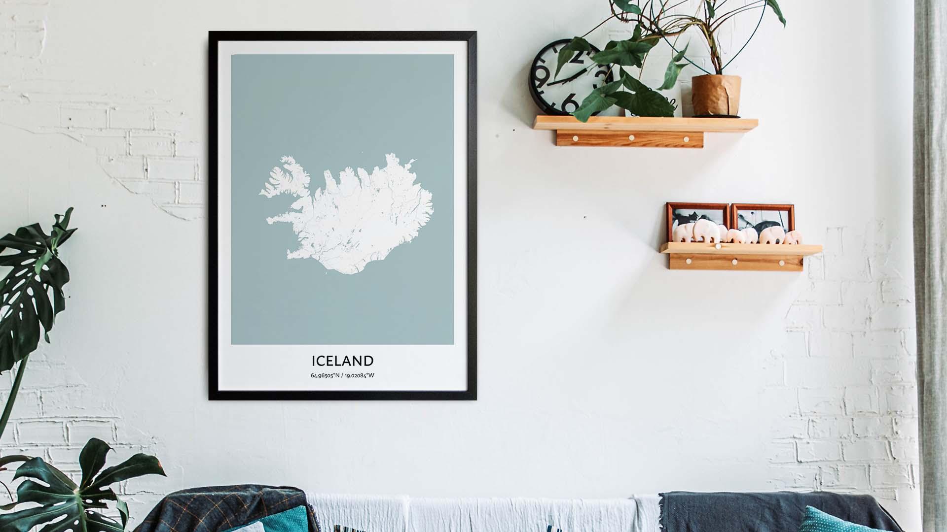 Iceland map art