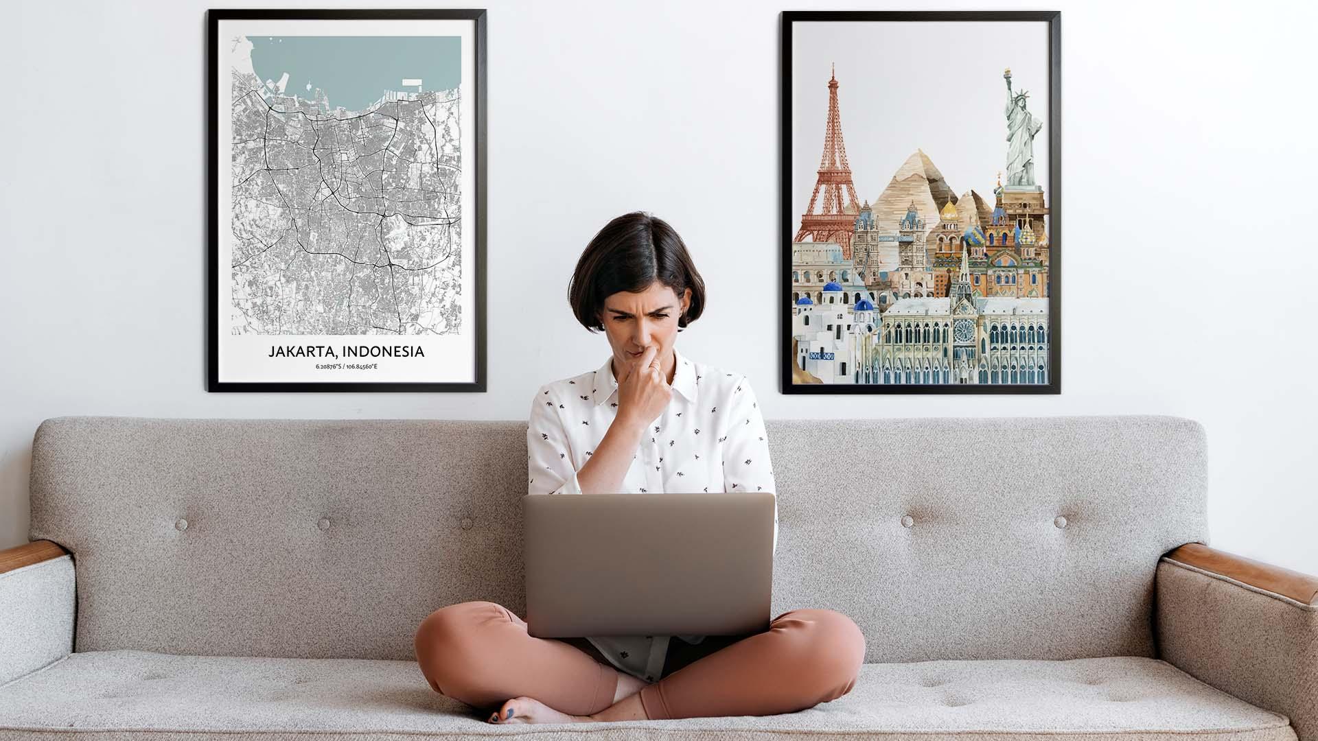 Jakarta city map art