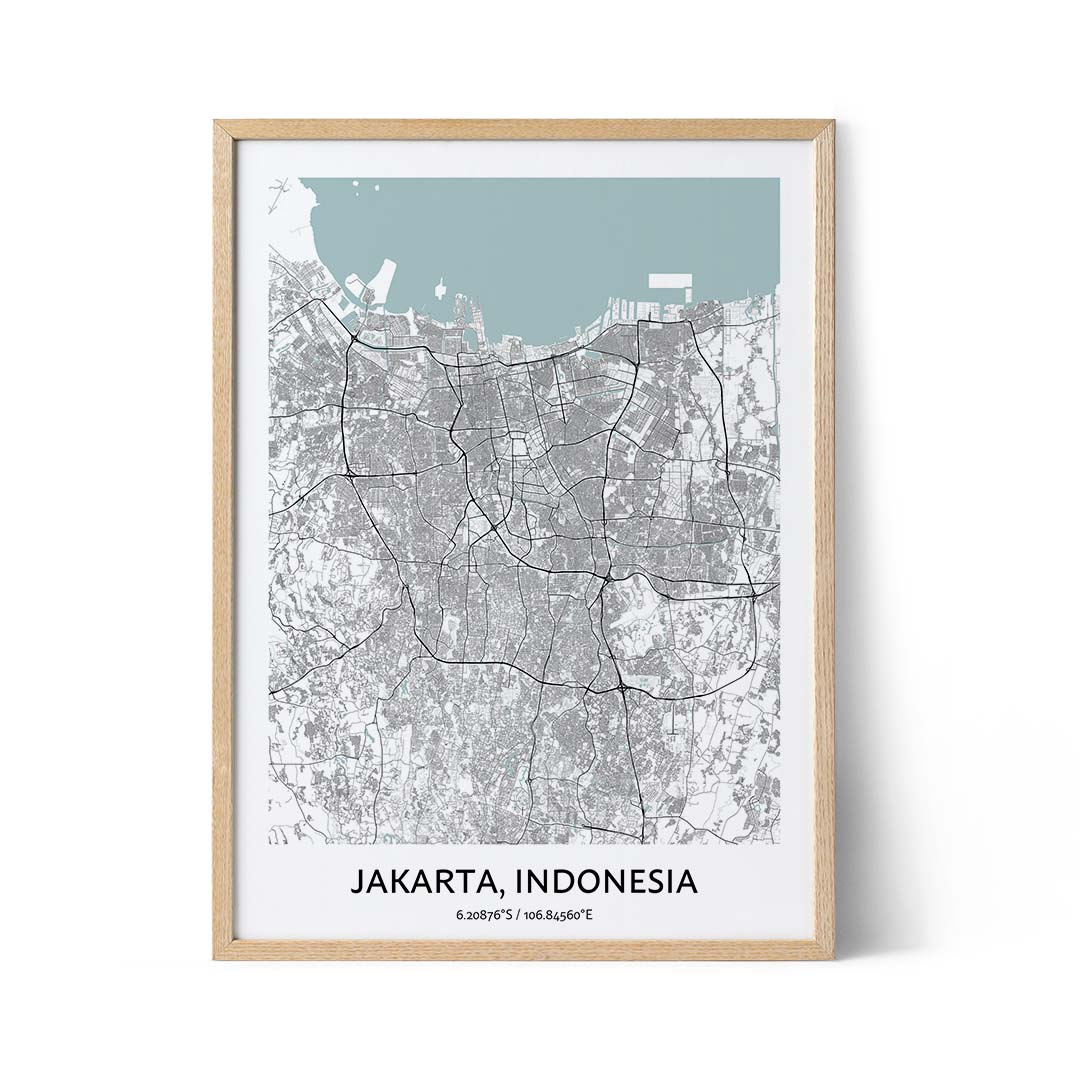 Jakarta city map poster