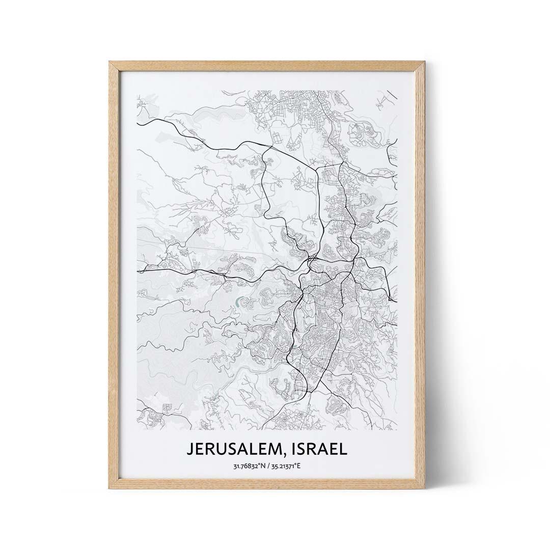 Jerusalem city map poster