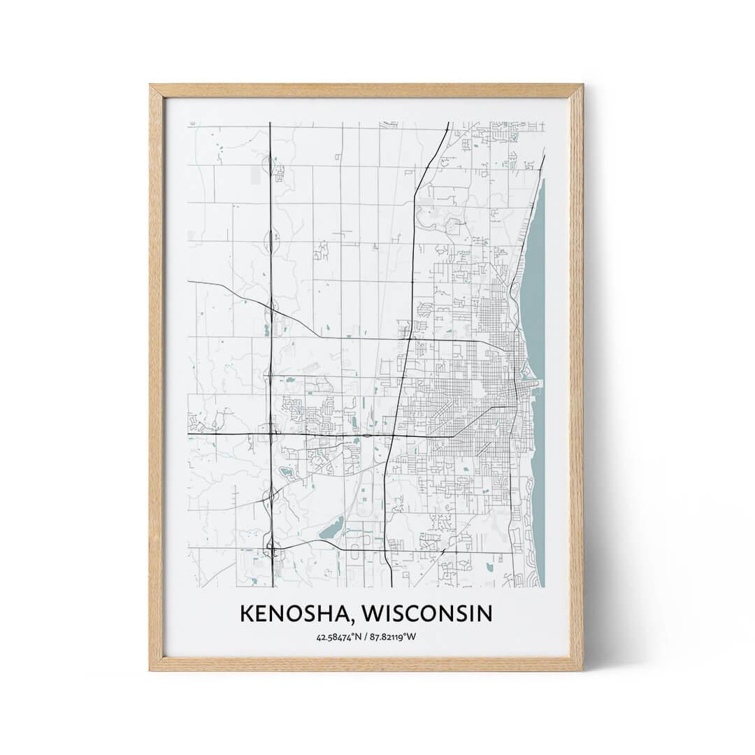Kenosha city map poster