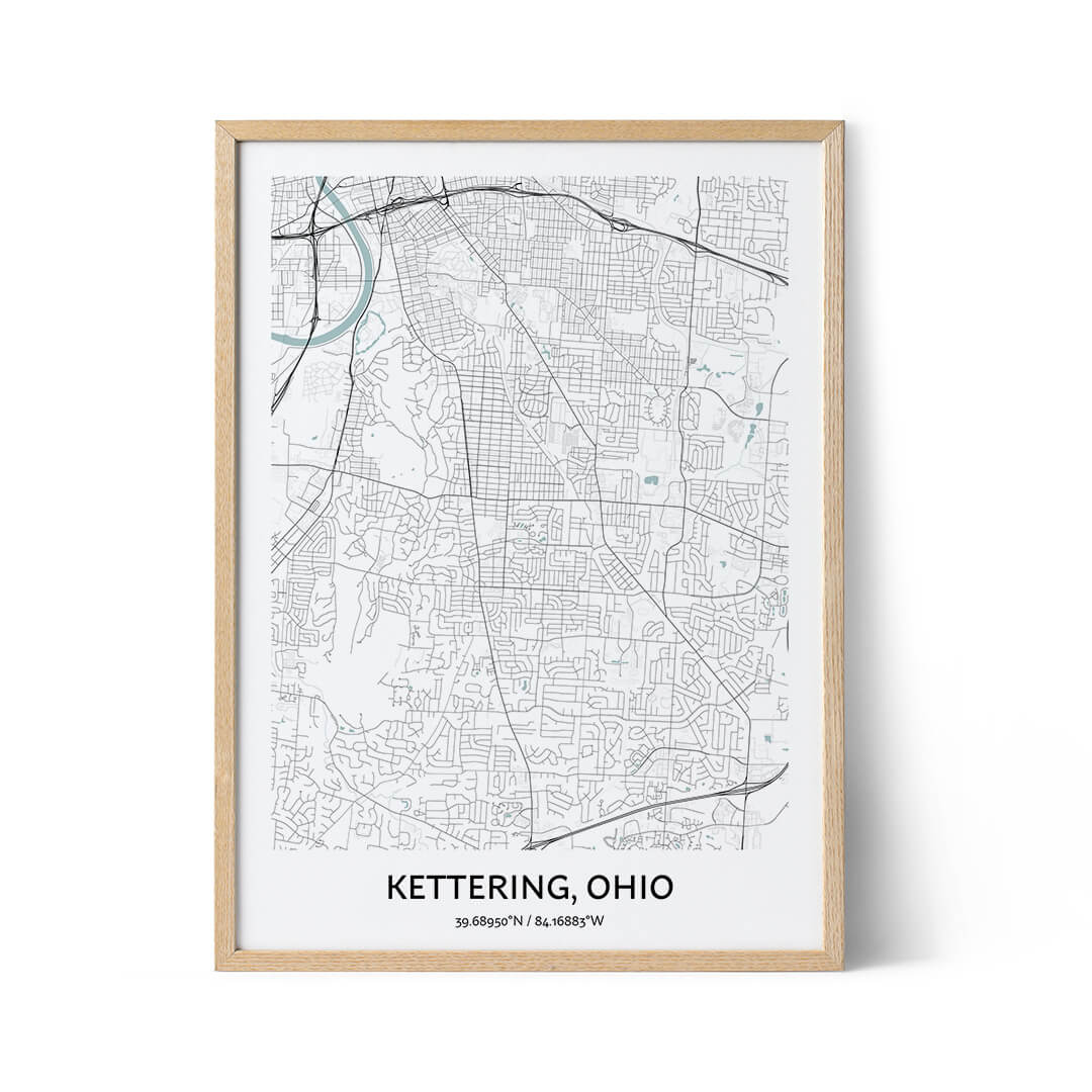 Kettering city map poster