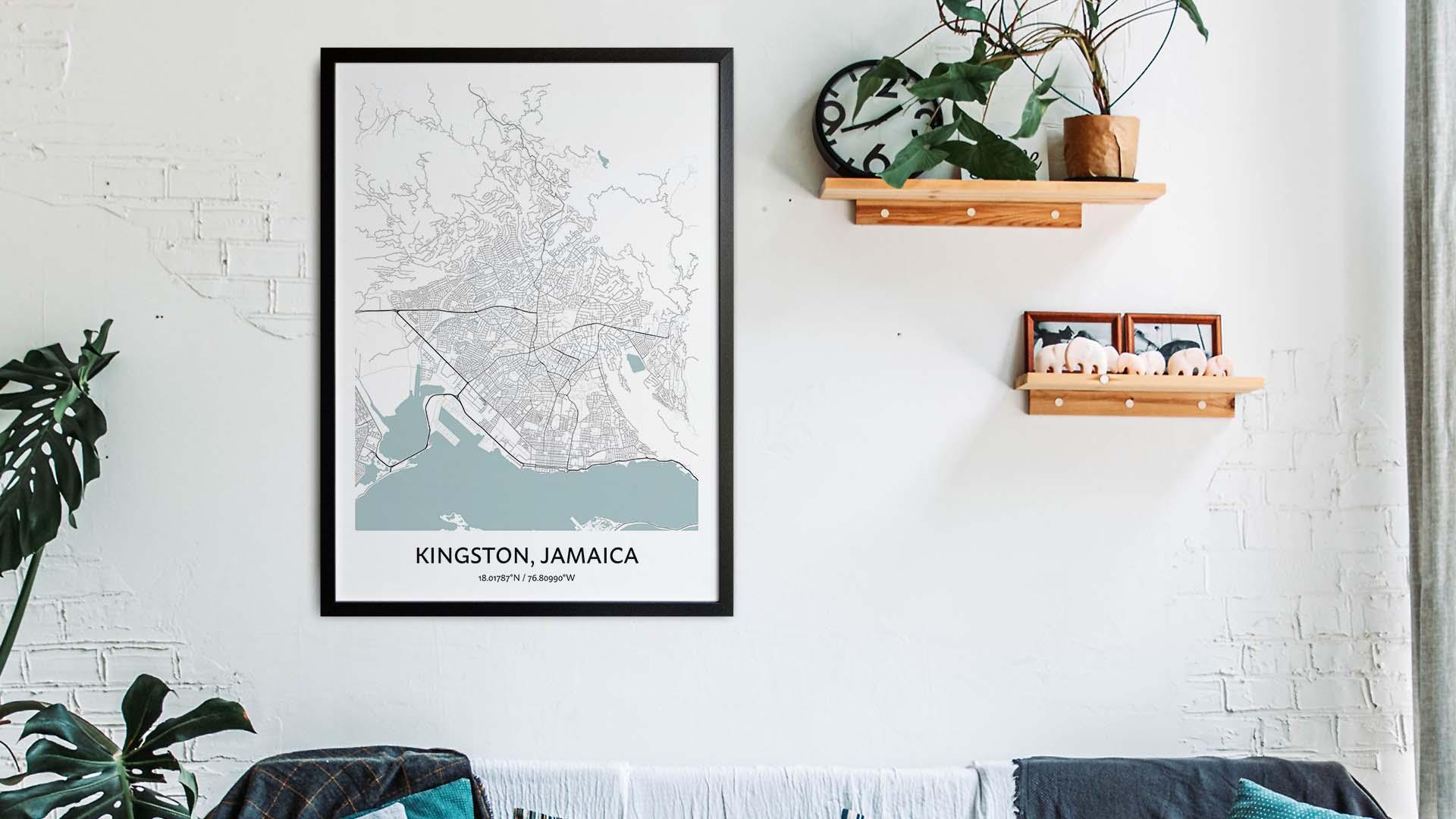Kingston Jamaica map art