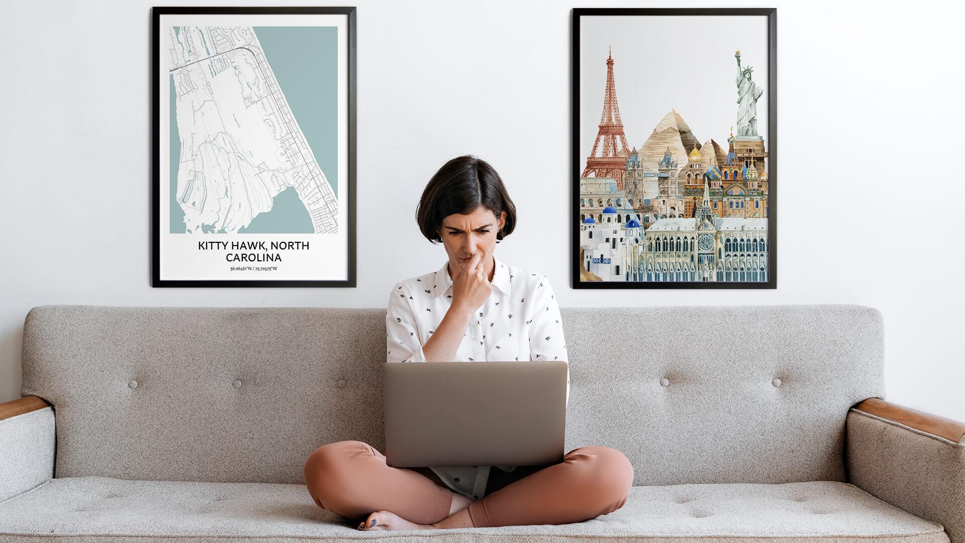 Kitty Hawk city map art
