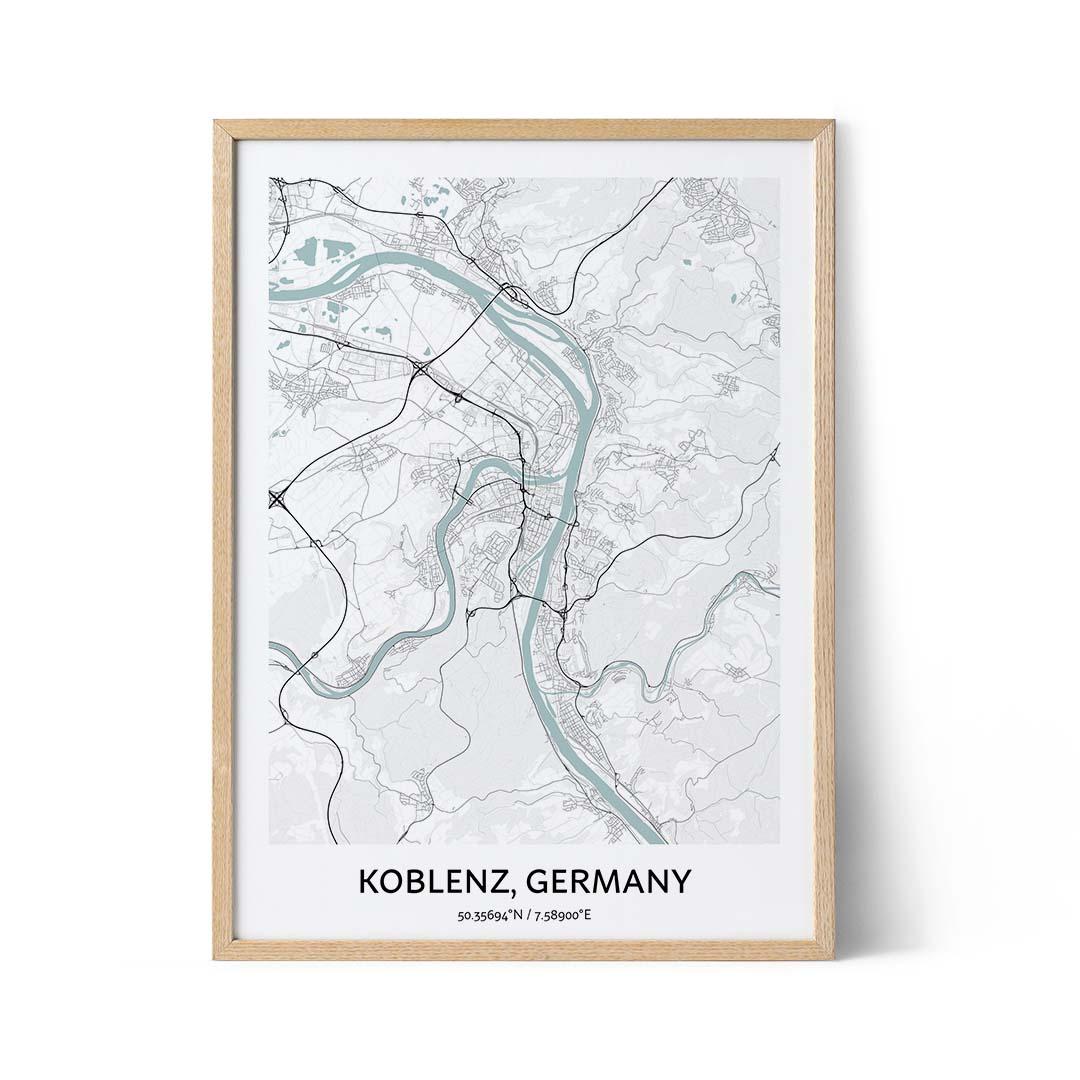 Koblenz city map poster
