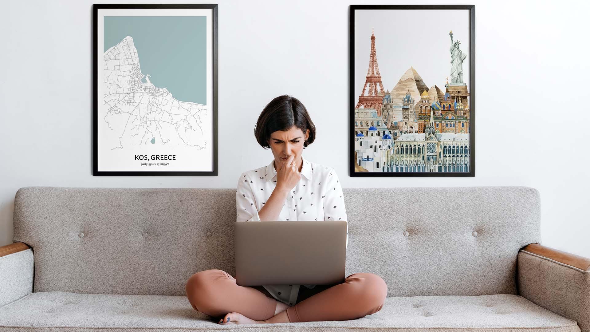 Kos city map art
