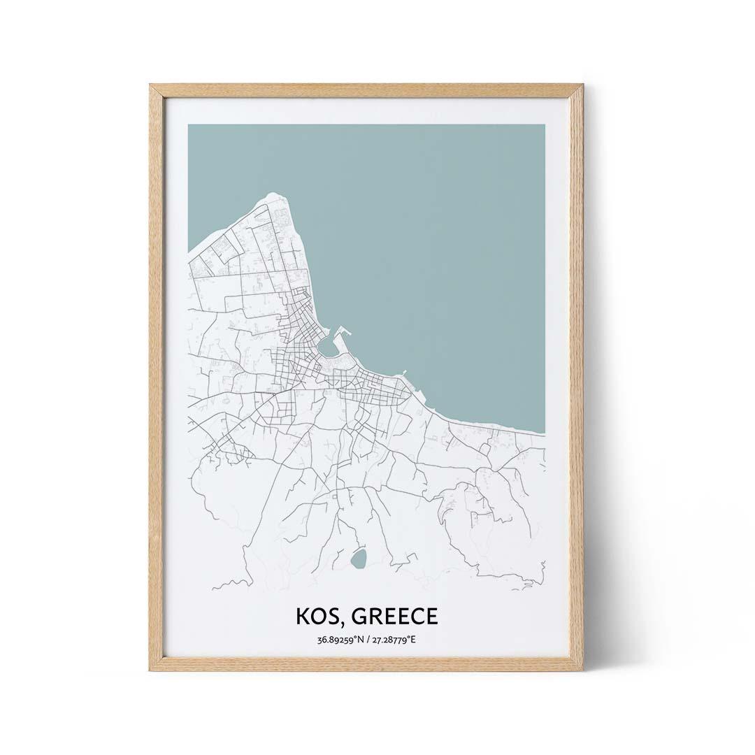 Kos city map poster