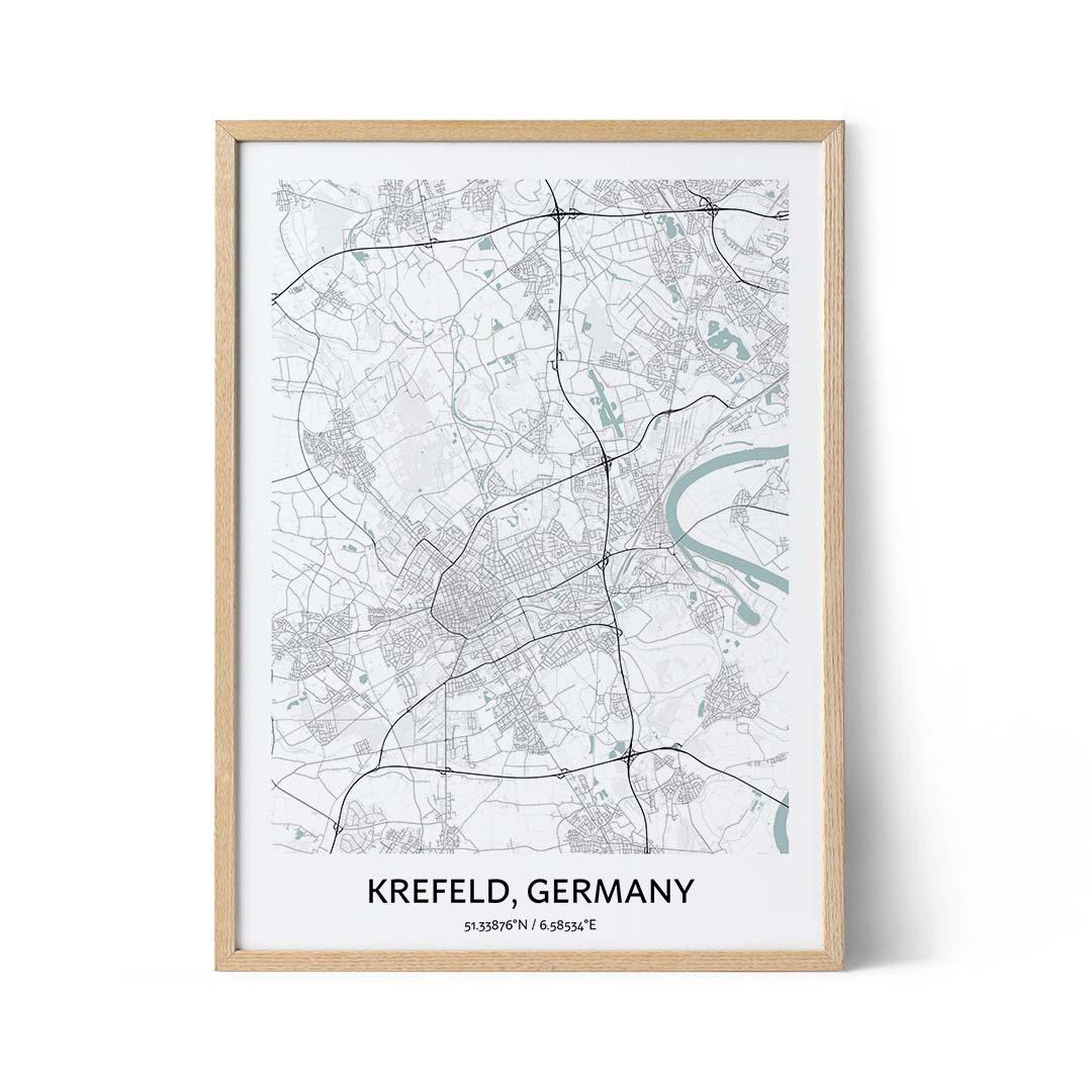 Krefeld city map poster