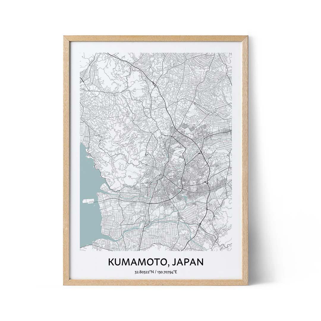 Kumamoto city map poster