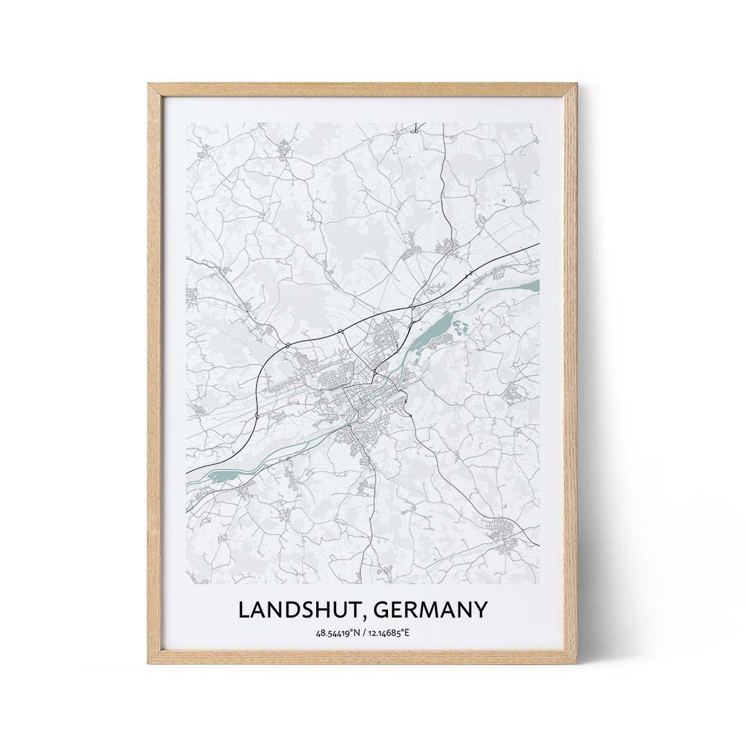 Landshut city map poster