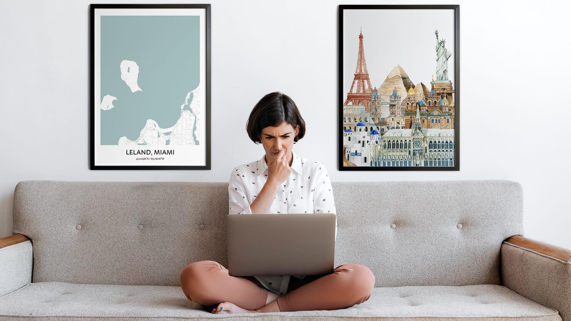 Leland city map art