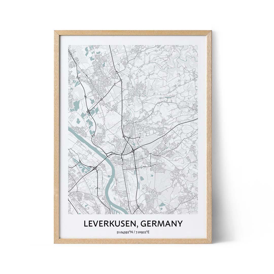 Leverkusen city map poster