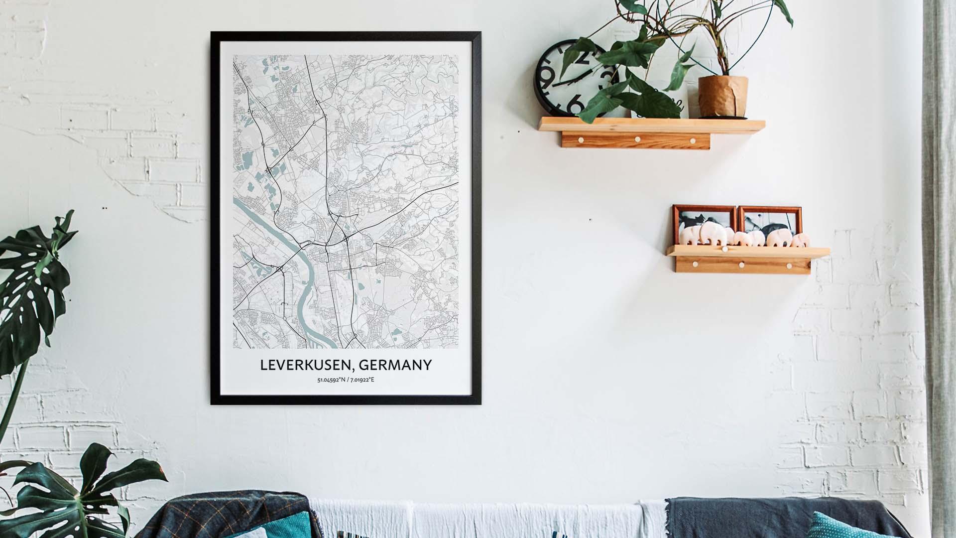 Leverkusen map art