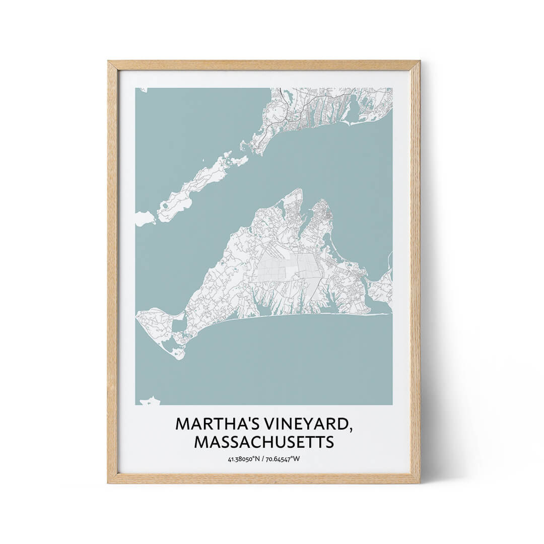 Martha's Vineyard city map poster