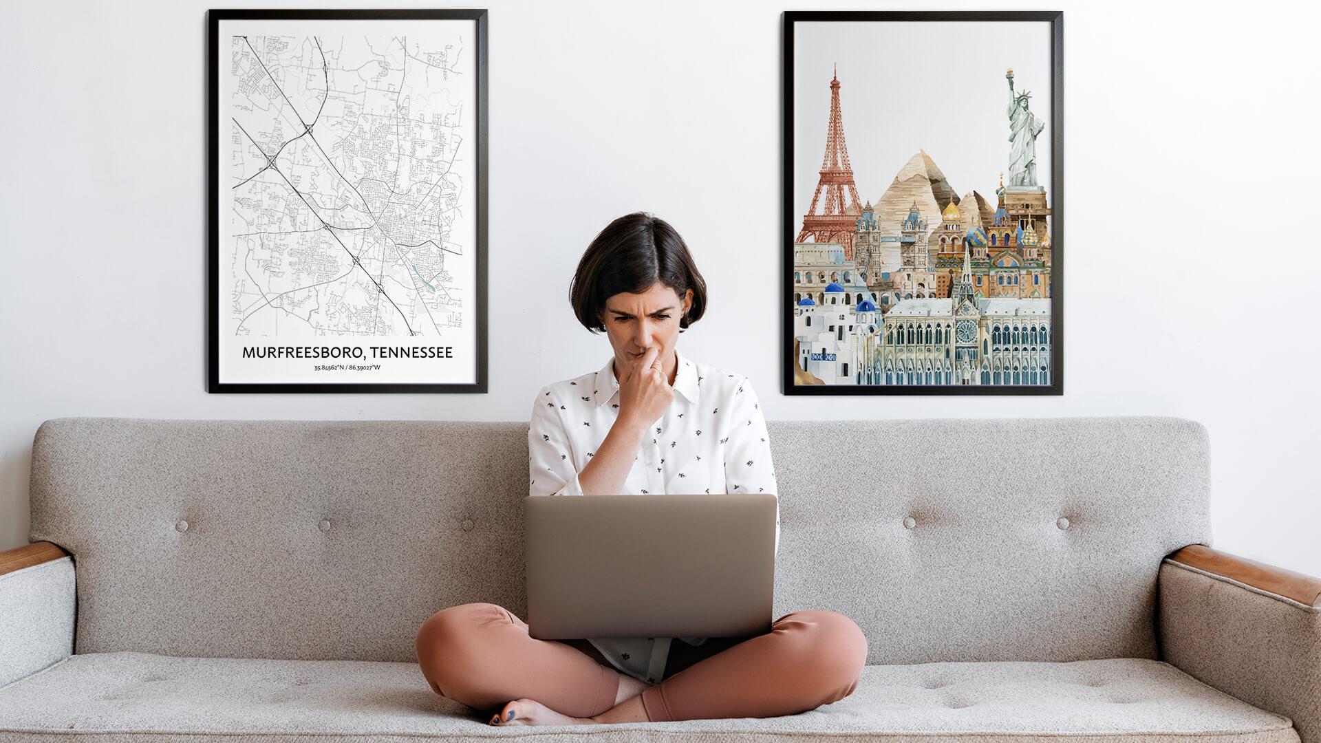 Murfreesboro city map art