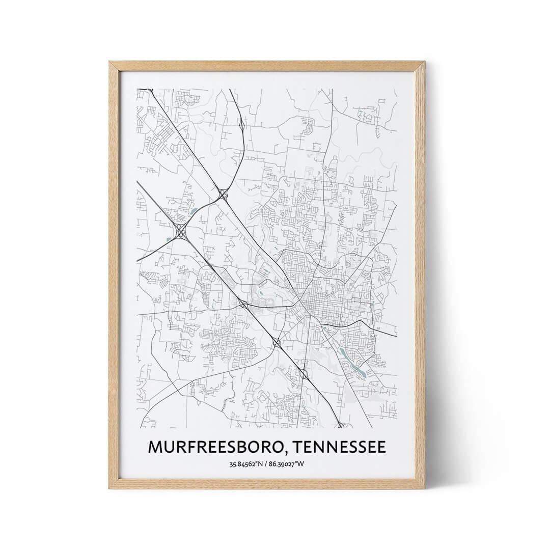 Murfreesboro city map poster