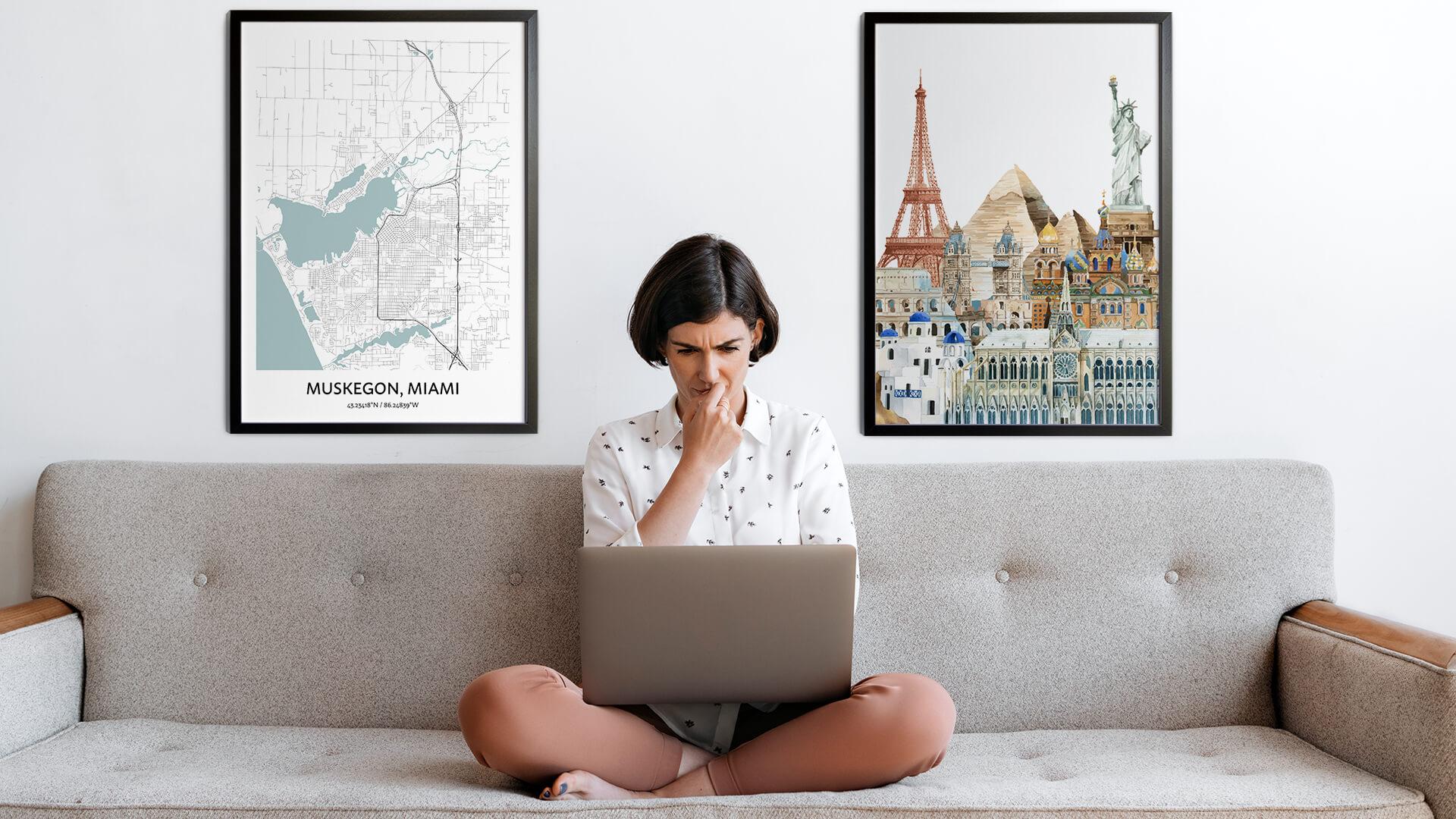 Muskegon city map art