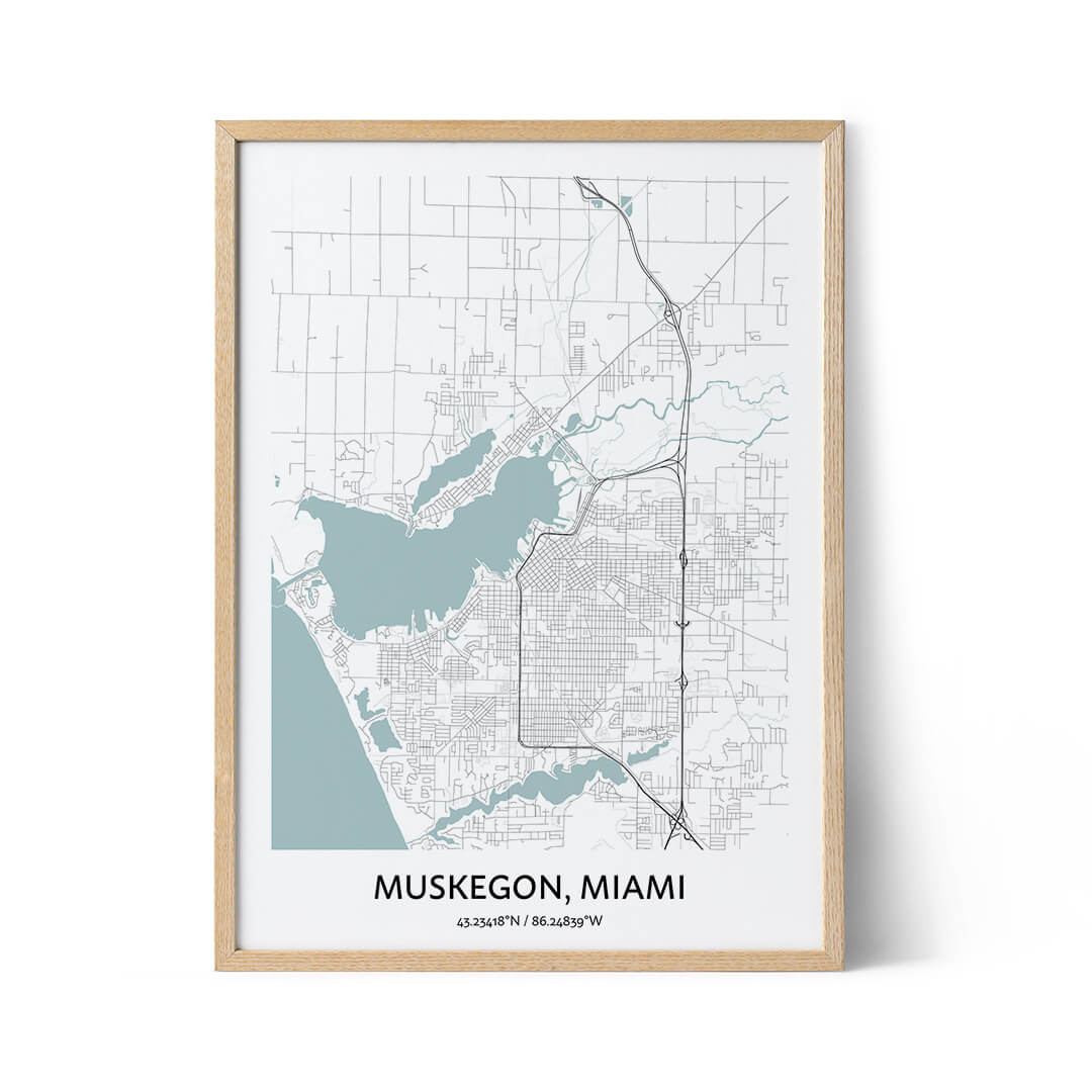 Muskegon city map poster