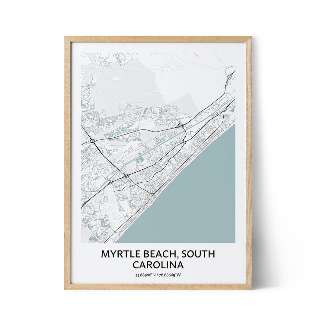 Myrtle Beach city map poster