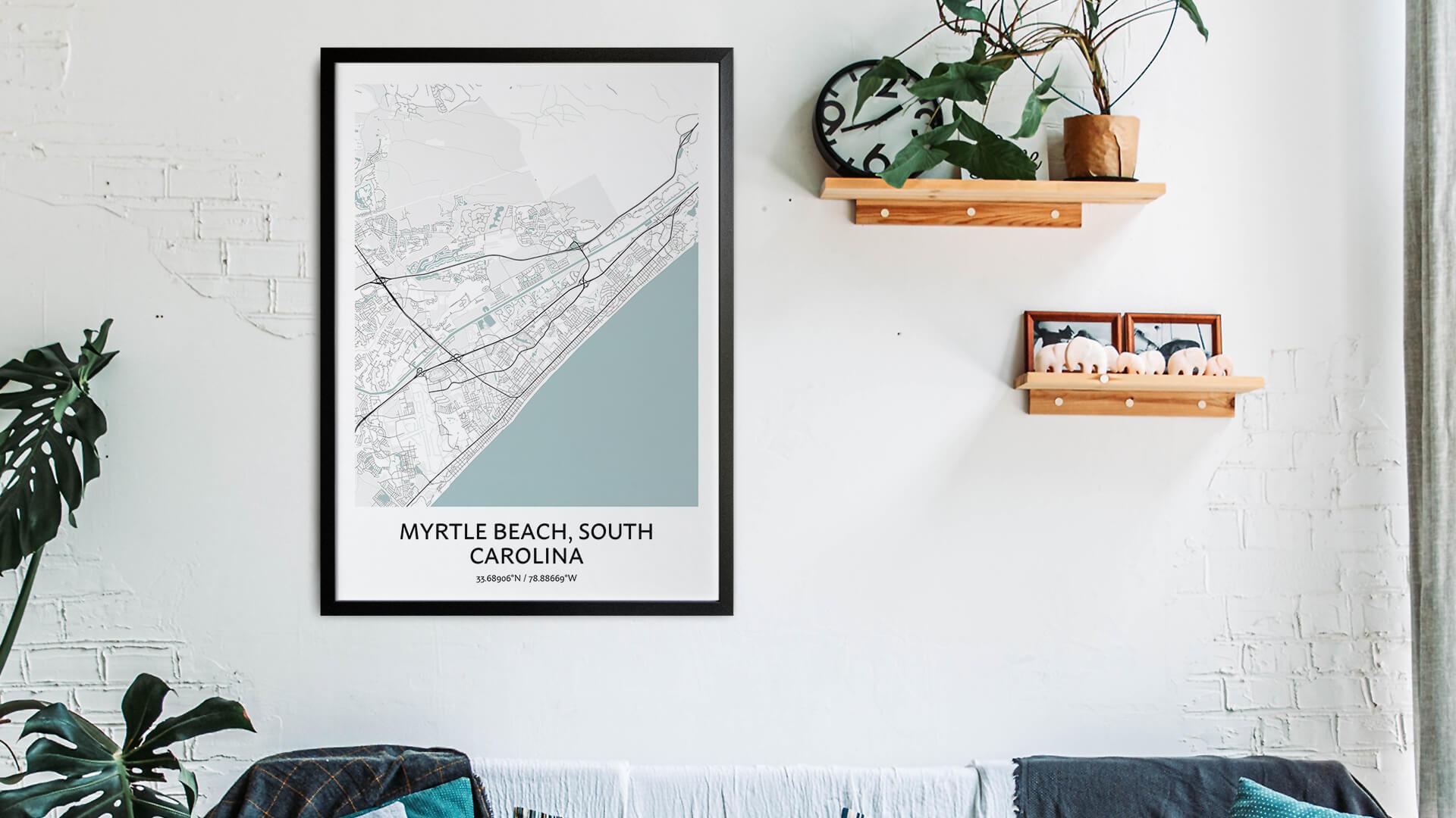 Myrtle Beach map art