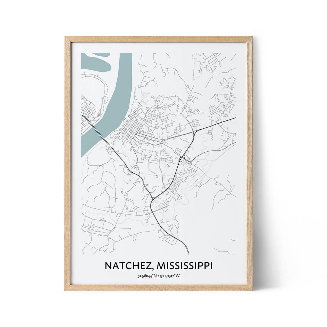Natchez city map poster