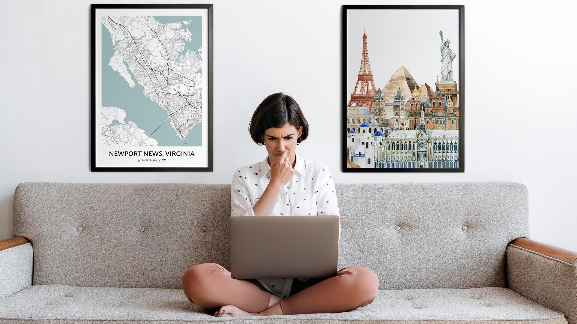Newport News city map art