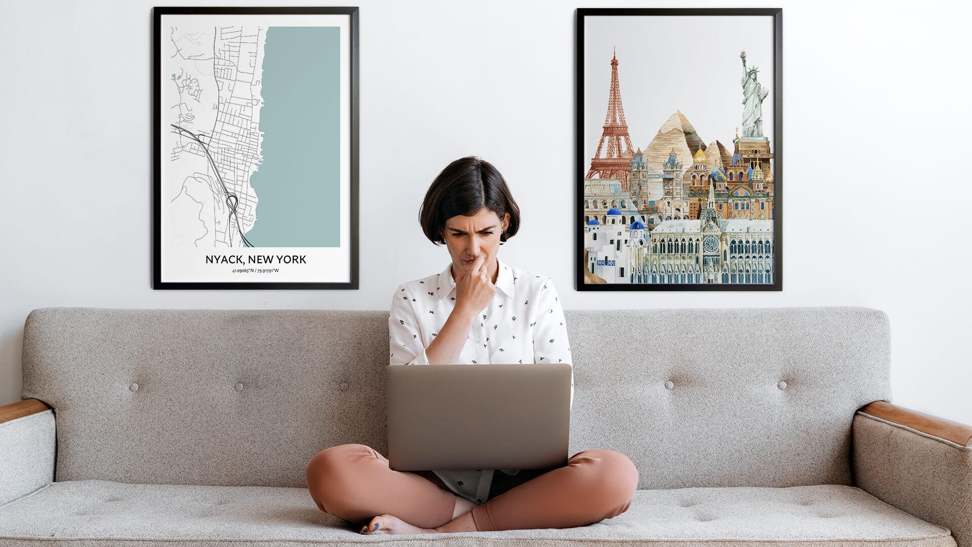 Nyack city map art
