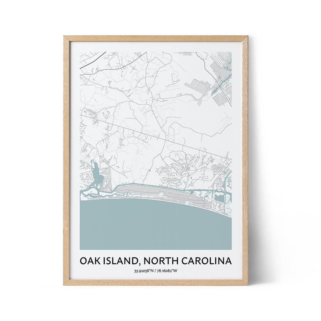 Oak Island city map poster