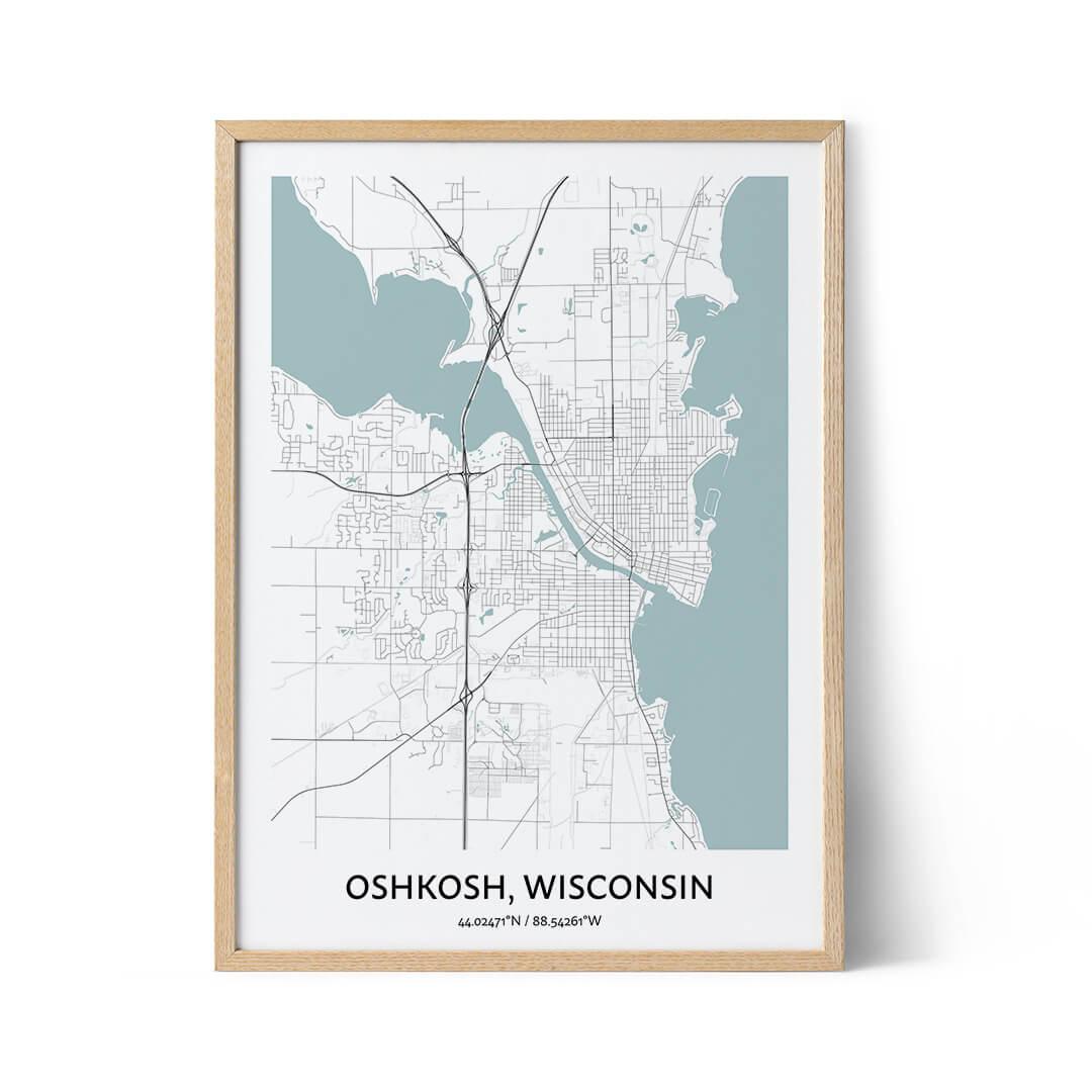 Oshkosh city map poster
