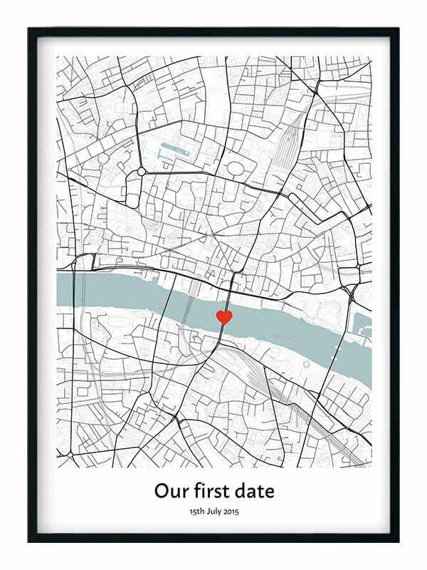 Our First Date Map Print