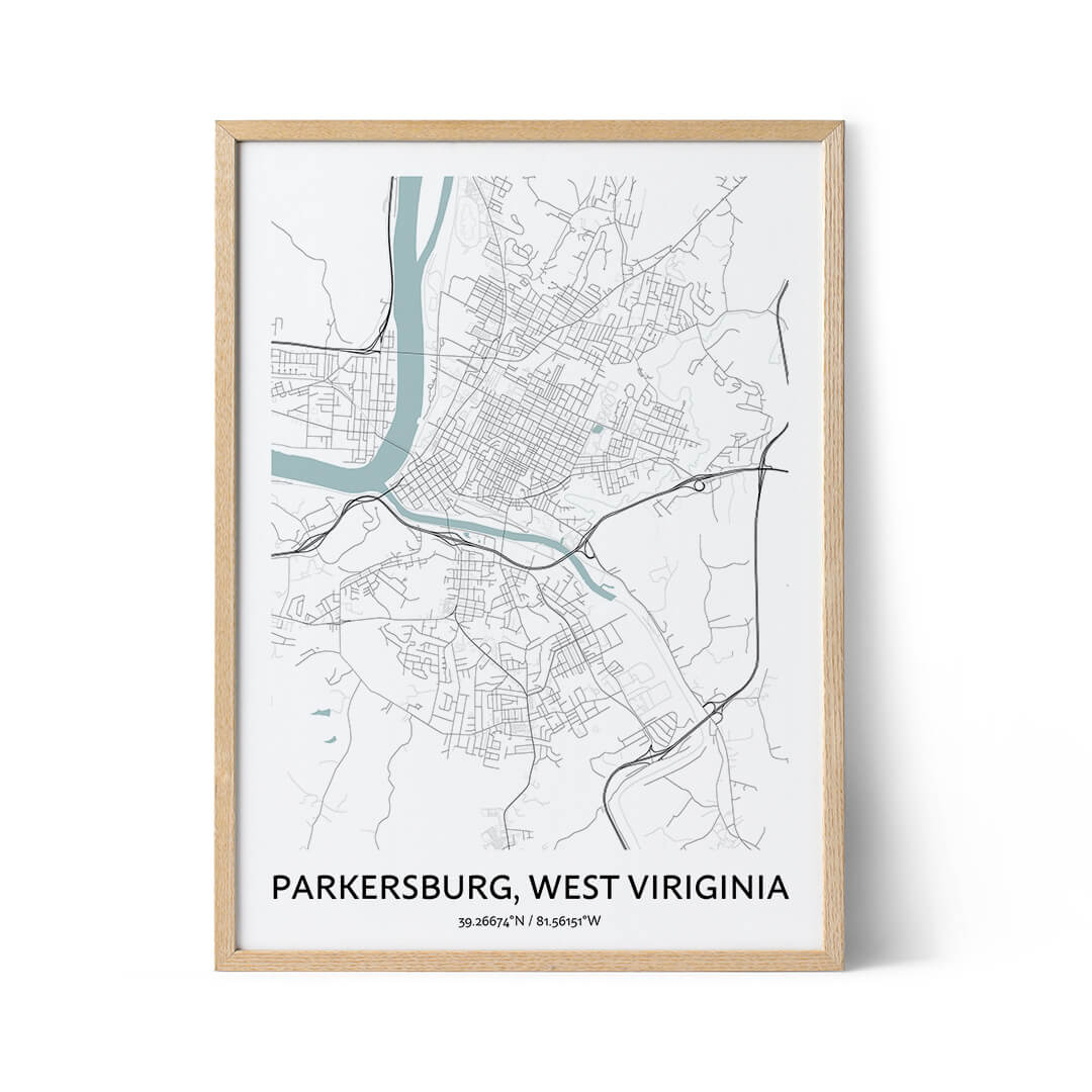 Parkersburg city map poster