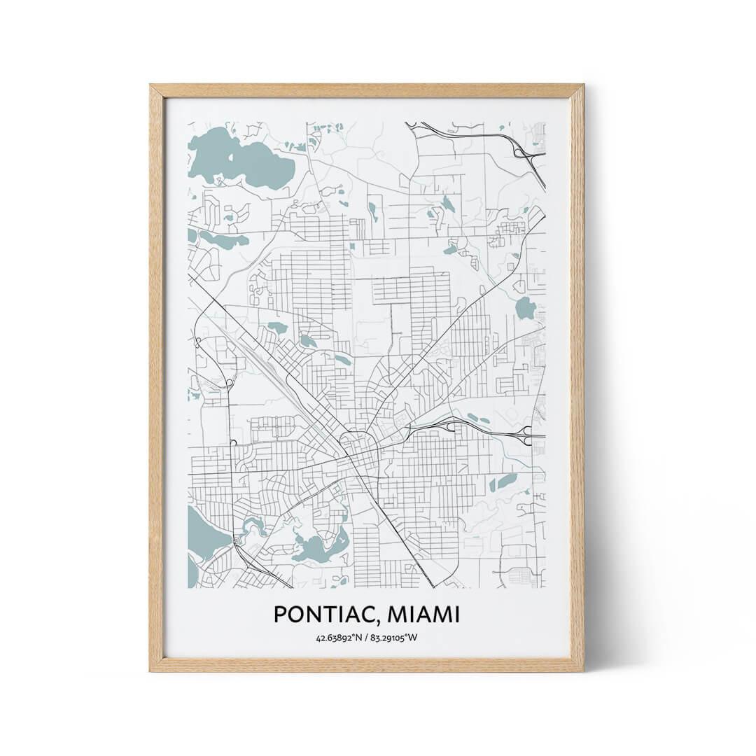 Pontiac city map poster