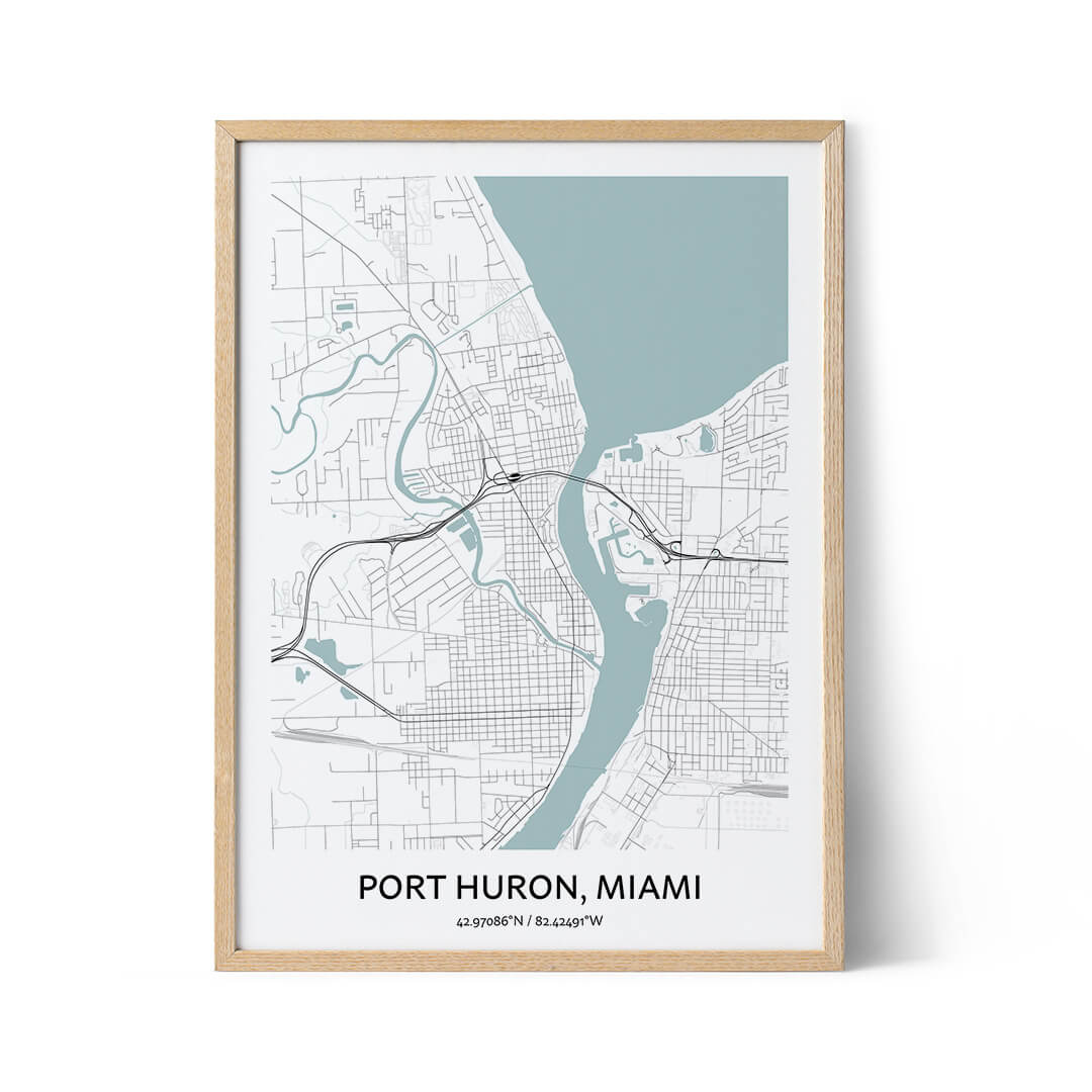 Port Huron city map poster