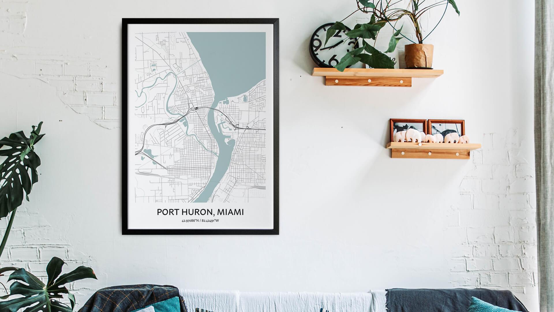 Port Huron map art