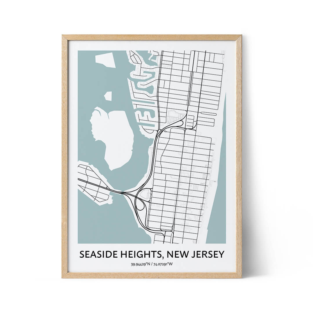 Seaside Heights city map poster