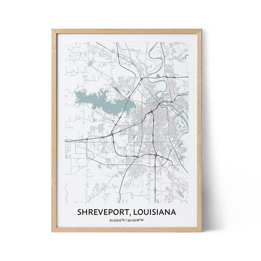 Shreveport city map poster