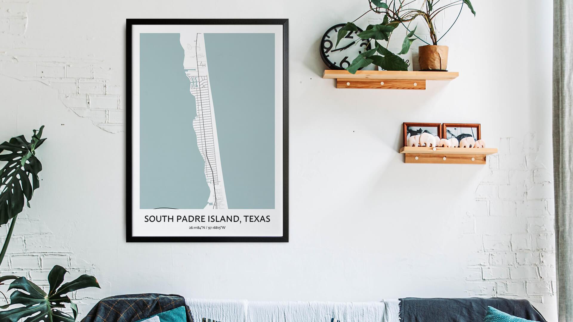 South Padre Island map art