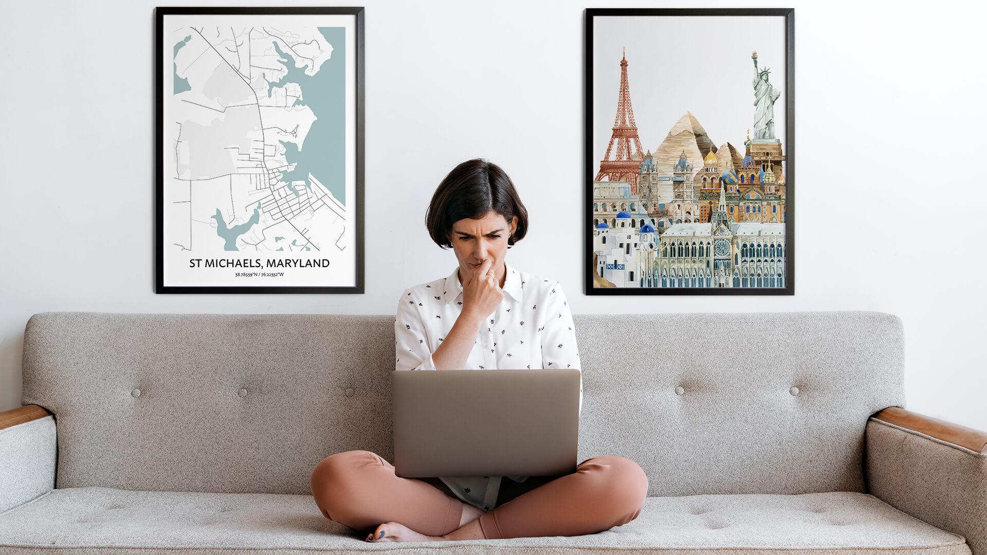 St Michaels city map art