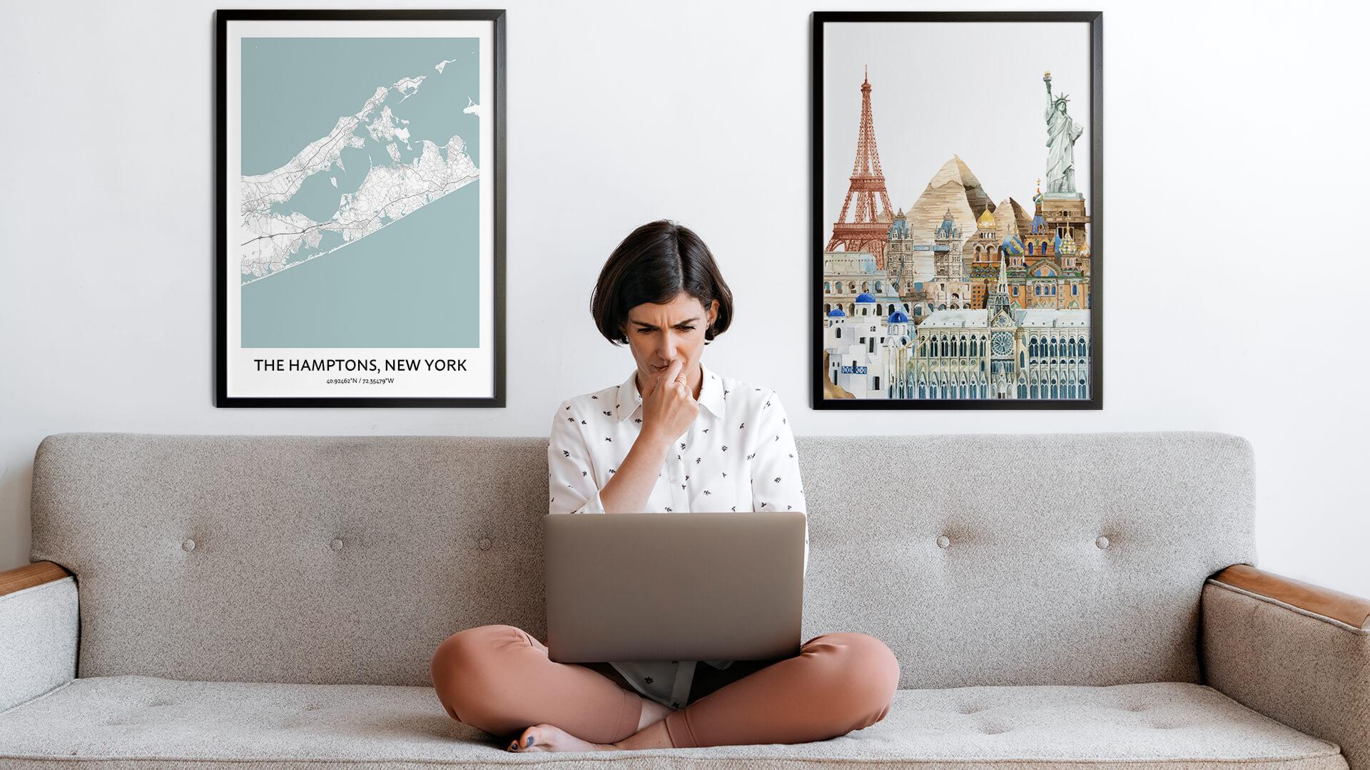 The Hamptons city map art
