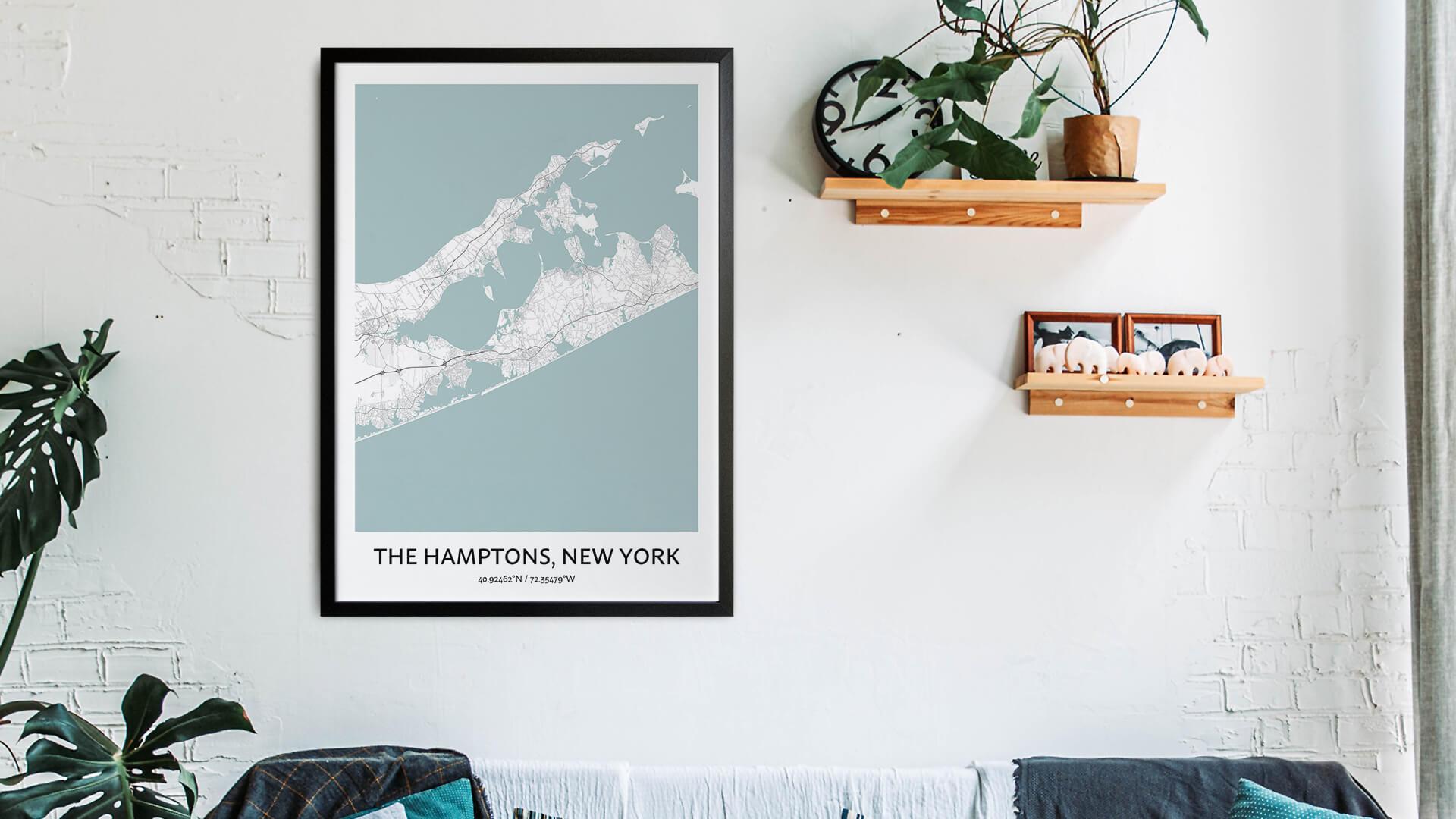 The Hamptons map art