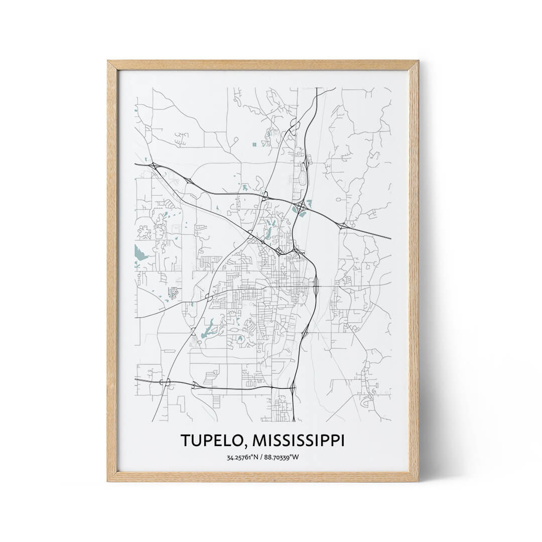 Tupelo city map poster