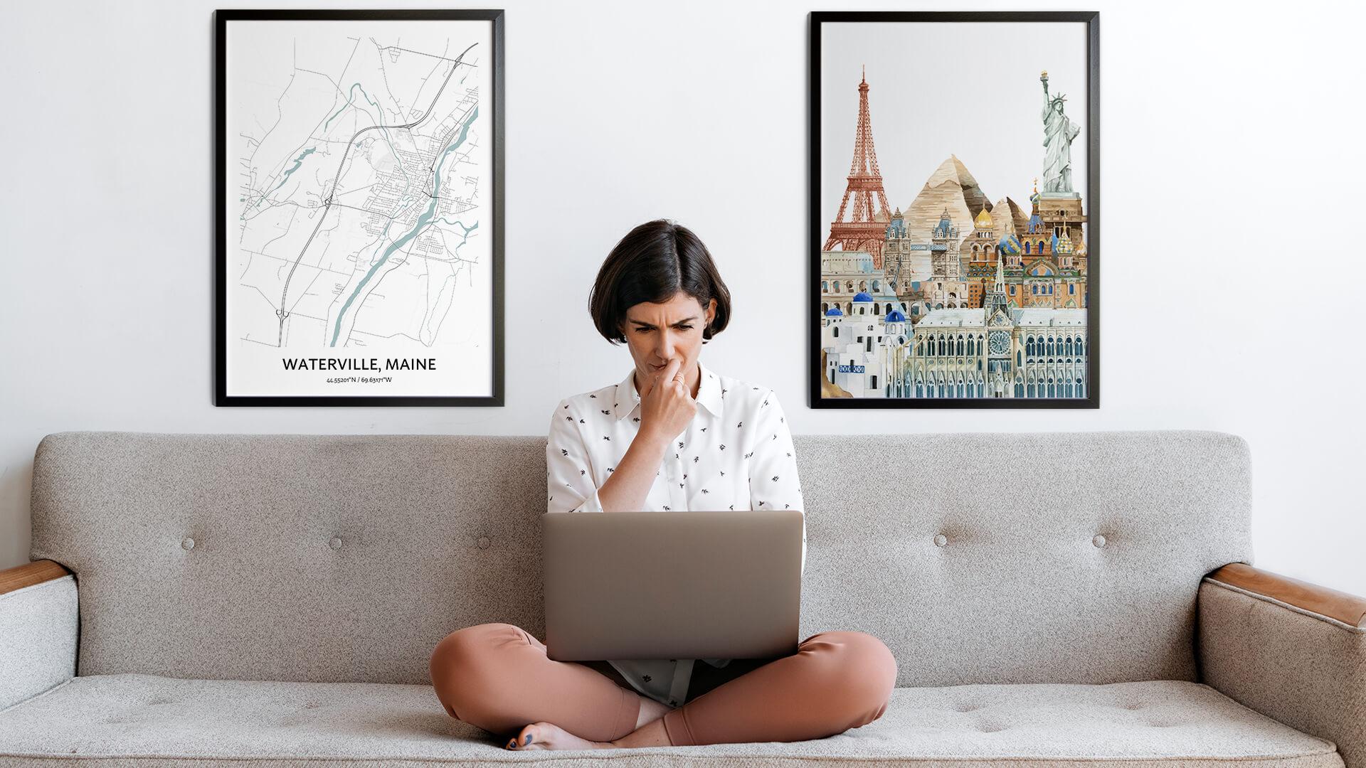 Waterville city map art