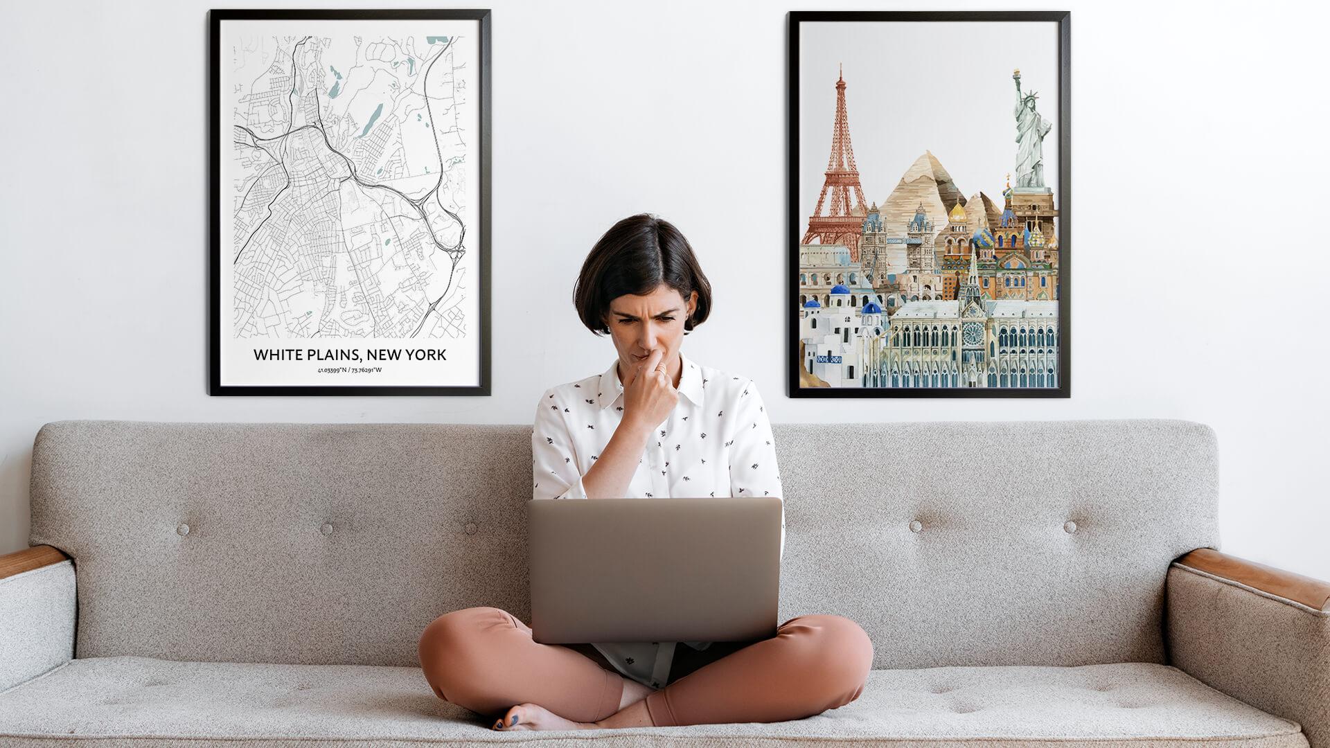 White Plains city map art