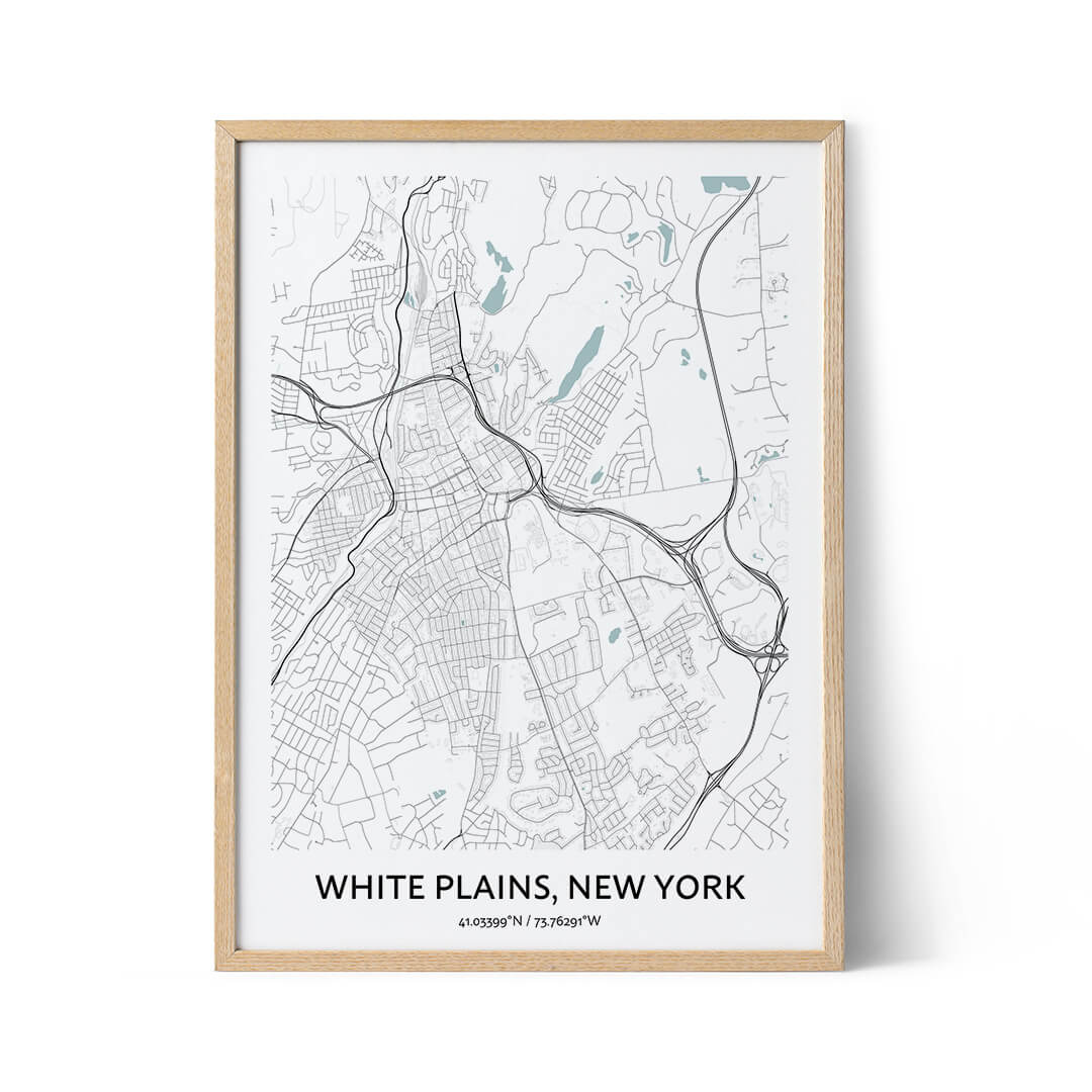 White Plains city map poster