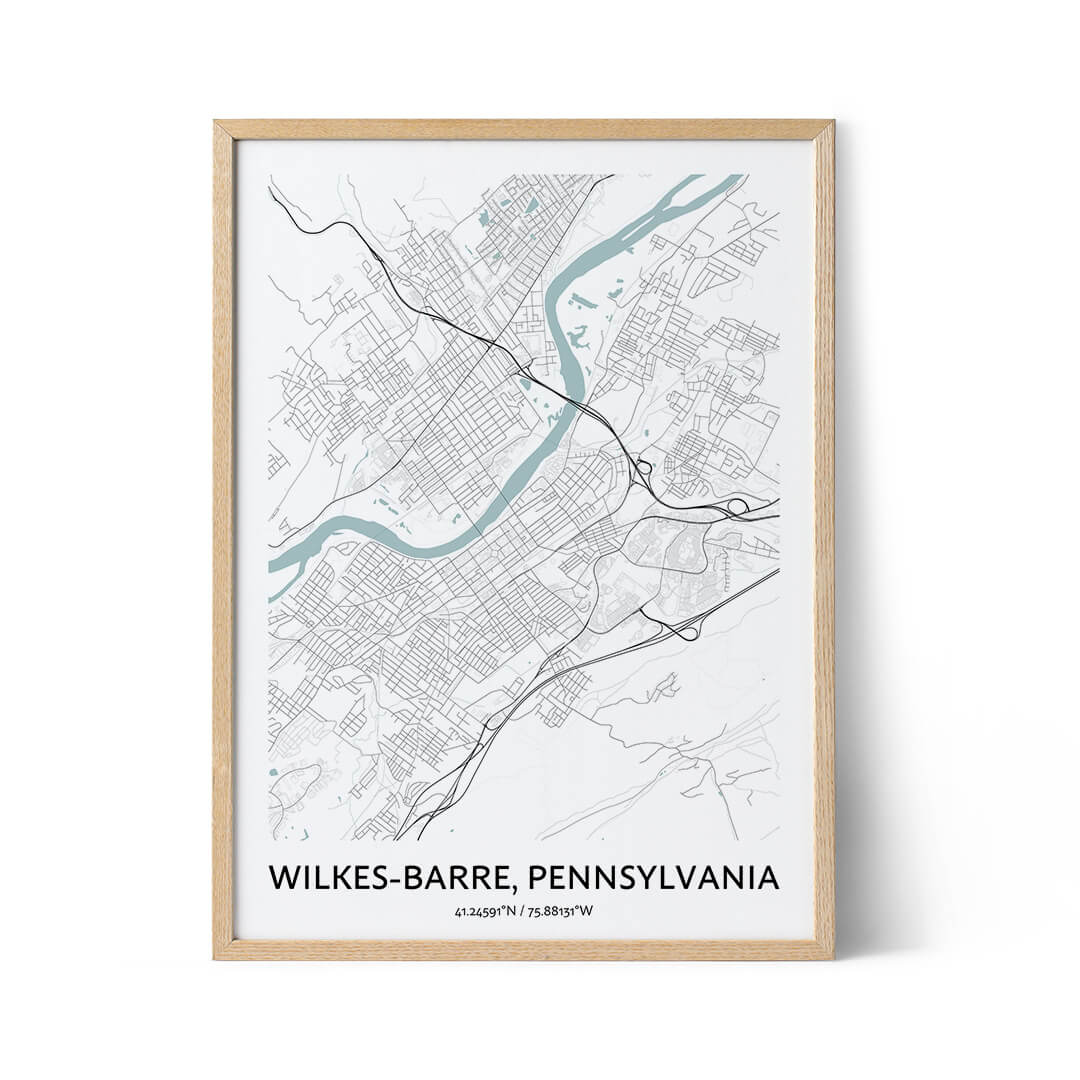 Wilkes-Barre city map poster
