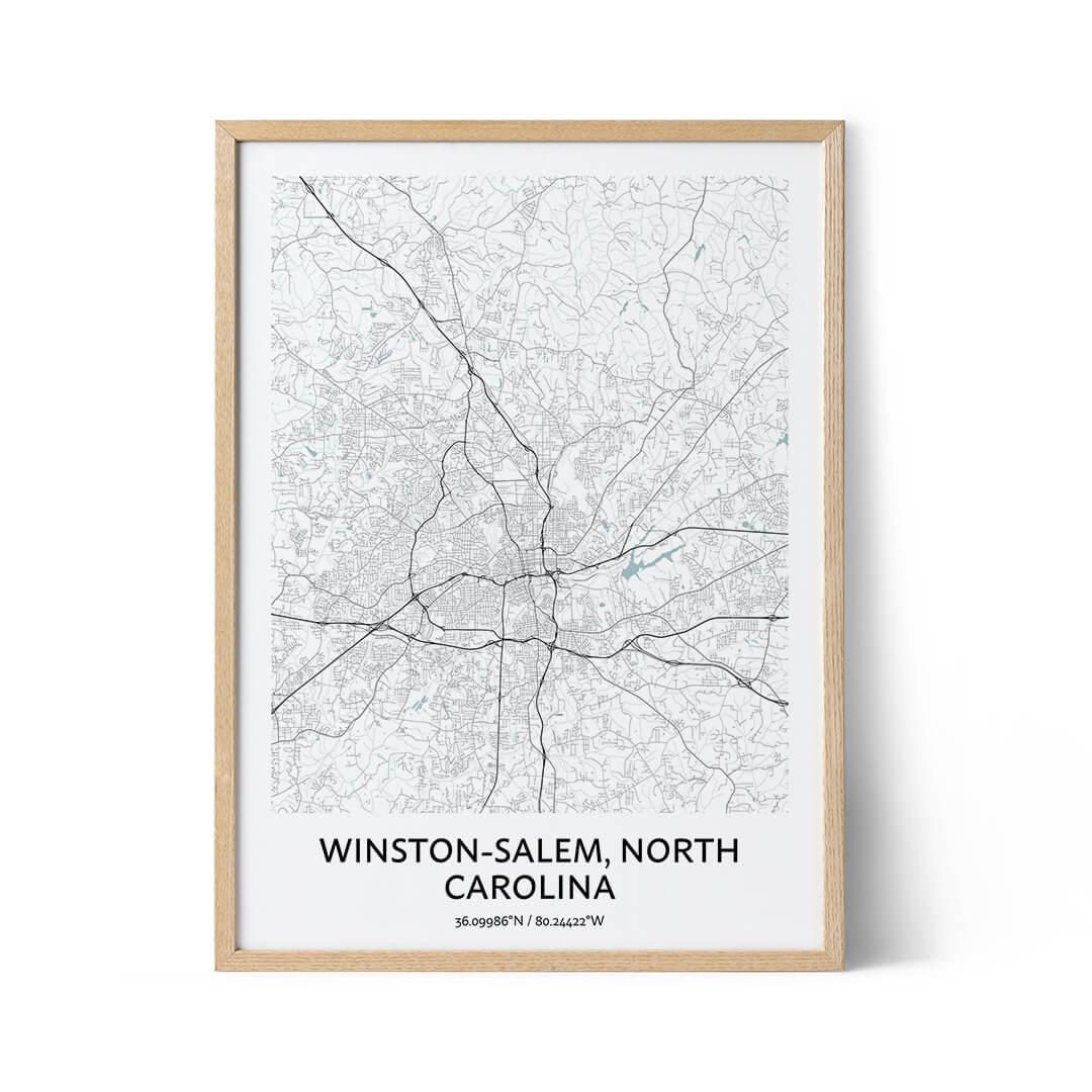 Winston-Salem city map poster