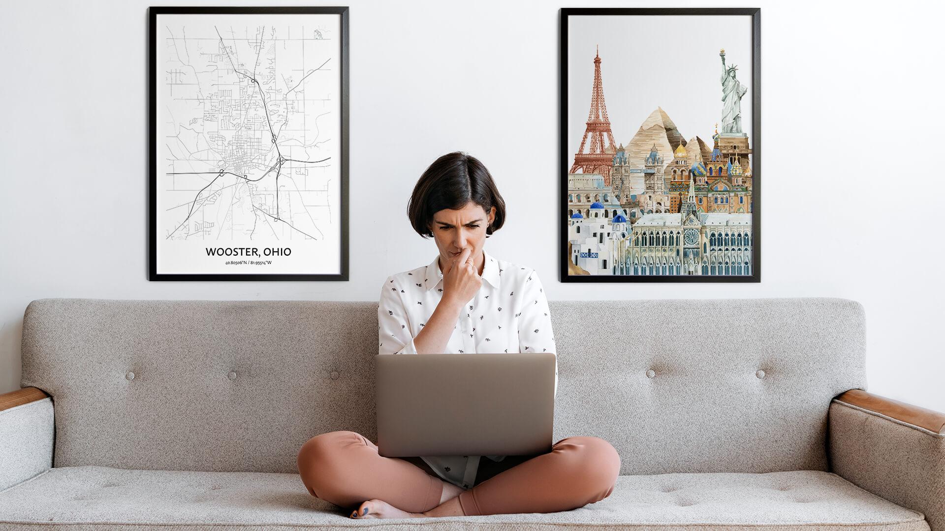 Wooster city map art