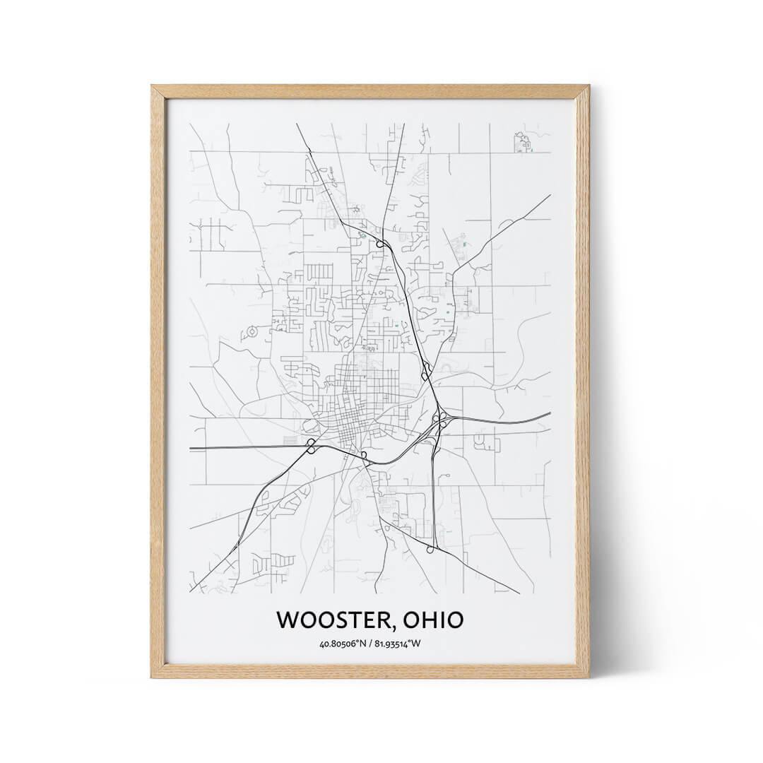 Wooster city map poster