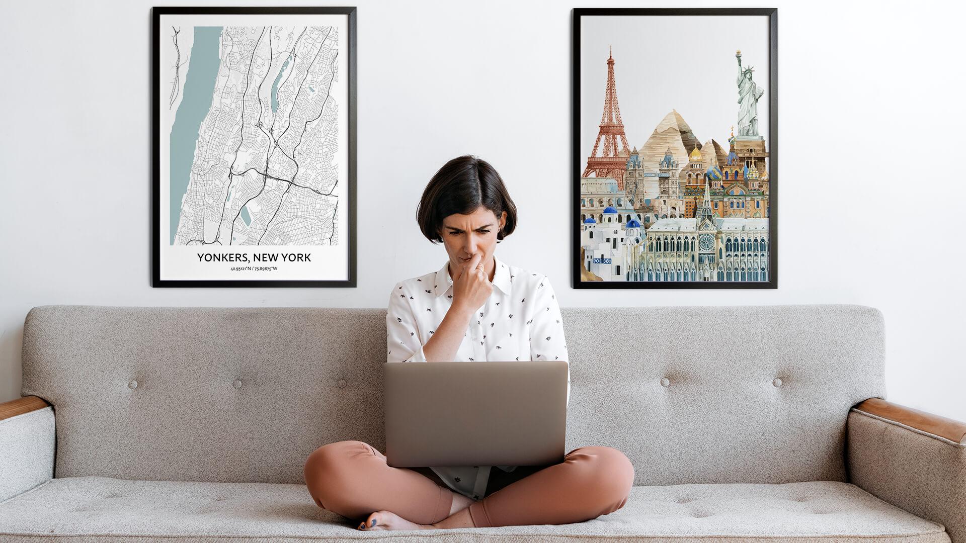 Yonkers city map art